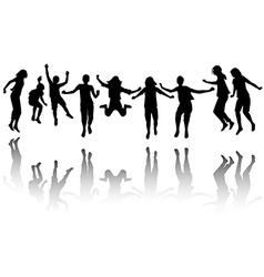 Group of children silhouette jumping vector image