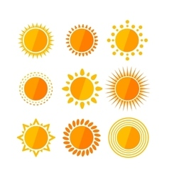 sun flat set vector image