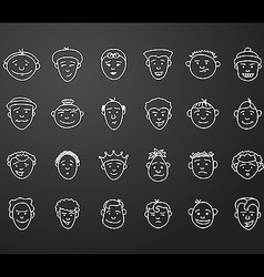 Icon set 24 differents mans faces vector