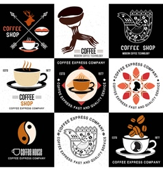 Set of retro logo and badges for coffee companies vector