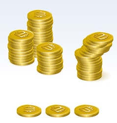Bitcoin coin stack icons vector