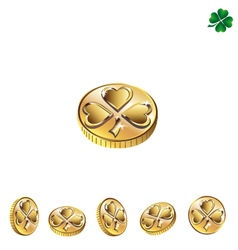 Coins with clover vector