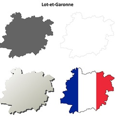 Lot-et-garonne aquitaine outline map set vector