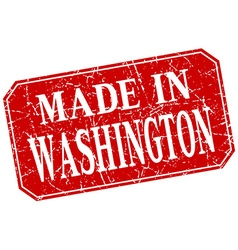 Made in washington red square grunge stamp vector