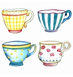 Tea cups watercolor on the white backgrounds vector