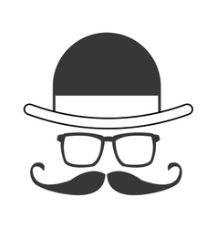 Hat glasses mustache bowtie icon vector