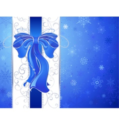 blue bow on a blue background vector image vector image