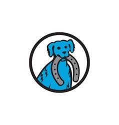 Blue merle dog biting horseshoe circle retro vector