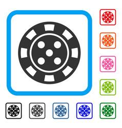 Casino chip framed icon vector