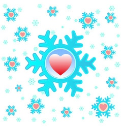Christmas background with snowflakes and hearts vector image vector image