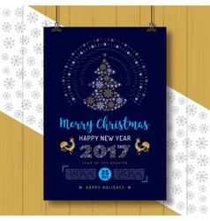 Christmas Poster Happy New Year Rooster 2017 vector image vector image
