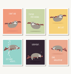 Collection of six greeting cards with cute sloth vector