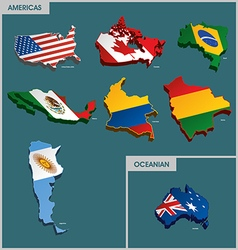 Countries terrain - americas and oceanian vector