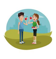 Couple eat apple diet sport design vector