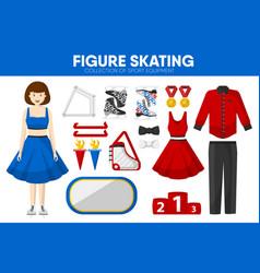 Figure skating sport equipment skater clothing vector