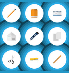 Flat icon stationery set of date block clippers vector