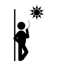 Flat spring rest smoking icon isolated on white vector