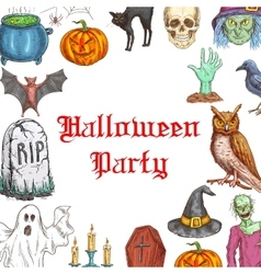 Halloween Party invitation card horror elements vector image