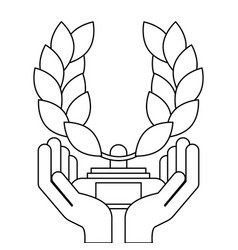 hands holding award branch laurel in pedestal vector image