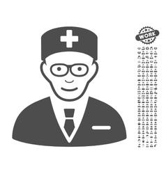 Head physician icon with bonus vector