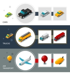 Isometric transport banners vector