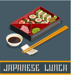 Japanese sushi set concept vector