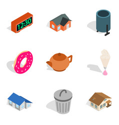 Matrimonial home icons set isometric style vector