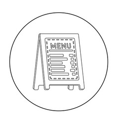 Menu of pizzeria icon in outline style isolated on vector