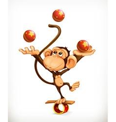 Monkey juggler circus performer character vector