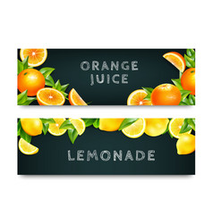 Orange juice lemonade 2 banners set vector