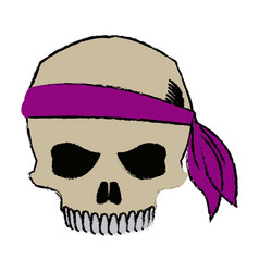 Pirate half skull with bandana character vector