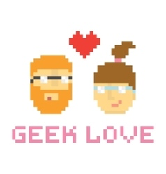 Pixel art style geek couple in love vector image vector image