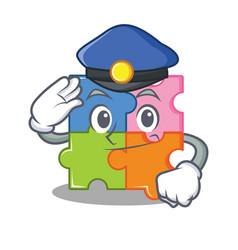 Police puzzle character cartoon style vector