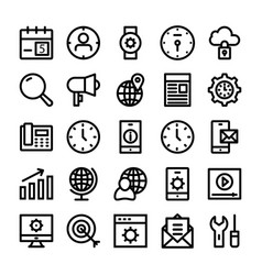 seo and marketing line icons 2 vector image