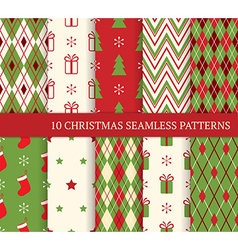 Set of Christmas different seamless patterns vector image vector image