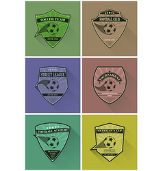set of soccer logos football logotypes in flat vector image