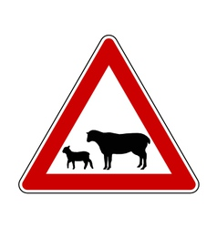 Sheep flock warning sign vector image vector image