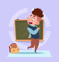 small school boy standing over class board vector image