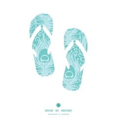 Soft peacock feathers flip flops silhouettes vector