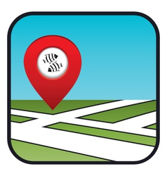 Street map icon with the pointer fish restaurant vector image