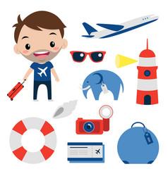 Travel set flat icons smiling tourist editable vector