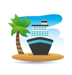 tropical vacation beach boat cruise travel vector image