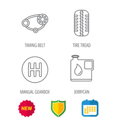Wheel manual gearbox and timing belt icons vector