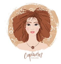 zodiac signs capricornin image of beauty girl vector image vector image