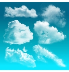 Transparent clouds realistic icon set vector