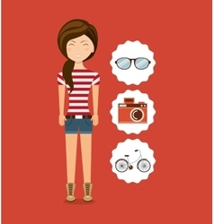 woman character hipster style vector image