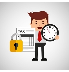 Business man secure money tax clock vector