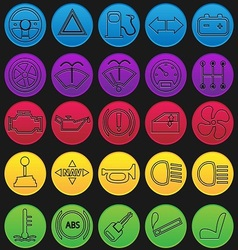 Car dashboard icon set gradient line vector