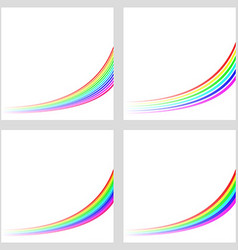 Simple rainbow curved line background set vector