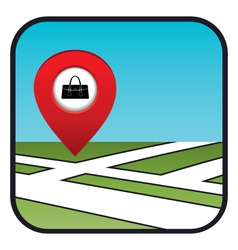 Street map icon with the pointer store bags vector